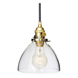"Hammers & Heels - Hand Blown 6"" Clear Glass Pendant Light- Brass - Handblown in the USA, this stunning clear glass shade pendant is the most versatile in our collections. From home kitchen to restaurant dining room this fixture is stately yet sophisticated enough to stand alone."