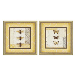 Paragon - Bees N Butterflies PK/2 - Framed Art - Each product is custom made upon order so there might be small variations from the picture displayed. No two pieces are exactly alike.