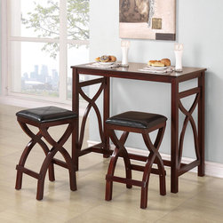 Tribecca Home - TRIBECCA HOME Zoe Cherry X-based Space Saver 3-piece Counter-height Breakfast Se - Add style and practicality to your kitchen with this breakfast counter and stools set. This attractive set with a cherry finish contains two stools and a narrow table that comfortably seats two and adds valuable counter space to your kitchen.