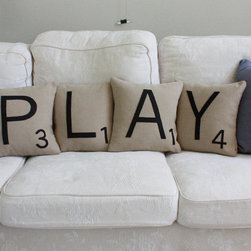 "PLAY Scrabble Letter Pillows - These are fun pillows if you like to have your couch ""say"" something. You can customize them to have the letters spell out whatever you want. These are also a great option for couches in the entertainment or play room."