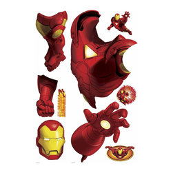 RoomMates Peel & Stick - Iron Man Giant Wall Decal - Iron man rockets into your room with this giant lifelike wall sticker. Perfect for little boys older kids or even adults who want a superhero standing tall on their walls. Mix and match with our other giant superheroes for maximum impact! Iron man rockets into your room with this huge wall decal! the man inside the armor is tony stark a billionaire playboy philanthropist businessman and a brilliant engineer. Bring the action and story of iron man into any location with this removable and repositionable wall graphic. A great match to our other comic book hero wall decals!
