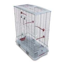 """Hagen - Large Vision Bird Cage with Small Wire - Vision revolutionized the bird cage industry by re-inventing the way we house pet birds. Vision is the perfect blend of elegant design and practical functionality. Features: -Bird Cage. -Vision collection. -Available in Single and Double heights. -For Budgies, Canaries, Lovebirds and Finches. -Cage detaches from base for fast, easy cleaning. -Debris guard helps retain waste inside cage. -Equipped with terracotta perches and food / water dishes. -Provides lots of room to move around and Vision makes it easy for you to take care of your bird. -Eject waste and seed debris outside of the cage and onto the floor. -Deep base and the placement of the seed / water cups help combat air currents to keep the majority of the waste and debris inside the cage. -Reduces the amount of mess and time-consuming clean ups. -Leaving you more time to enjoy your pet. -Great home for your new bird. -1 year warranty. -Assembly required. Specifications: -Single Dimensions: 22"""" H x 31"""" W x 17"""" D. -Double Dimensions: 37"""" H x 31"""" W x 17"""" D."""
