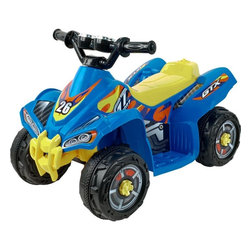 Lil Rider - Lil' Rider Battery Operated Blue Bandit GT Sp - Bright Colors: Blue and Yellow. Battery: 6V 4.5AH. Includes charger (charges fully in 8-10 hours for 1 hours of use). Speed: 2 mph. Ages: 3-4 years. Weight capacity: 44 lbs.. Dimensions: 25.5 in. L x 16 in. W x 18.25 in. HTake the neighborhood by storm with the Blue Bandit GT Sport by Lil' Rider. Built for the rough and tough toddler who wants to explore the wonders of their back yard, the Blue Bandit GT Sport powers through all the terrain your lawn has to offer. Make your child the talk of the block with the Blue Bandit GT Sport by Lil' Rider.
