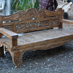 Hand Carved Teak Bench from Bali - Hand Carved Teak Bench from Bali