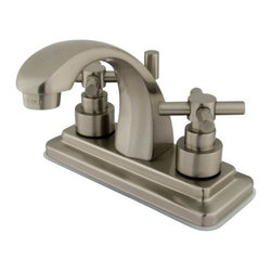 "Kingston Brass - Satin Nickel Two Handle 4"" Centerset Lavatory Faucet with Brass Pop-up KS4648EX - This faucet will supplement your desire for a sophisticated and elegant look. This bathroom faucet has a deck mount setup and features a 4"" centerset installation. The body is fabricated from solid brass for durability and long-lasting use. The color finish is made of oil-rubbed bronze for dark, vintage shade, as well as resisting scratches, corrosion and tarnishing. The spout has a reach of 4 inches and a height of 5 inches. The handles allow for easy management of water volume and temperature. The faucet operates with a ceramic cartridge valve for droplet-free functionality with the water measured 2.2 GPM (8.3 LPM) and a 60 PSI maximum rate.  An integrated removable aerator is inserted beneath the spout's head piece for conserving water flow.  A brass pop-up drain in a matching finish is included. All mounting hardware is included and standard US plumbing connections are used. A 10-year limited warranty is provided to the original consumer.. Manufacturer: Kingston Brass. Model: KS4648EX. UPC: 663370016646. Product Name: Kingston Brass Elinvar Two Handle 4"" Centerset Lavatory Faucet with Brass Pop-up. Collection / Series: Elinvar. Finish: Satin Nickel. Theme: Contemporary / Modern. Material: Brass. Type: Faucet. Features: Drip-free ceramic cartridge system"