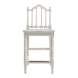 Stanley Furniture - Charleston Regency Chippendale Counter Stool - The stately Chippendale Counter Stool features classic turned back splats and intricately carved front legs. A nickel-finished scuff plate thoughtfully protects stretchers. Inspired by the rich, thick gloss of marine paints, this particular white has been infused with a drop of cream—akin to the color you might find in a braided rope. The hue takes its name from the Charleston, SC street, Ropemakers Lane. Also available in Charleston Green. Made to order in America.