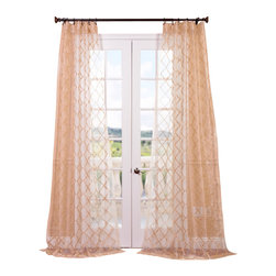Exclusive Fabrics & Furnishings, LLC - Gia Gold Embroidered Sheer Curtain - Opting for these gold, embroidered, diamond sheer drapes ensures that not only are your windows covered, but your decorative integrity is, too. These elegant curtains enhance your room whether open or closed.