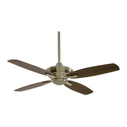 """Minka Aire - Traditional 52"""" Minka Aire New Era Energy Star Brshd Nickel Ceiling Fan - Traditional simple looks with a brushed nickel motor housing and dark walnut finish blades. 14 degree blade pitch 52"""" blade span. Comes with 3 1/2"""" and 6"""" downrods and a full function remote control system. (UM)  Brushed nickel motor finish.  Dark walnut finish blades.  52"""" blade span.  14 degree blade pitch.  Lifetime motor warranty.  172 x16mm motor size.  Remote control included.  Fan height 12-7/8"""" blade to ceiling (with 3-1/2' downrod).  Includes 3 1/2"""" and 6"""" downrods."""