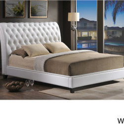 Jazmin Tufted Modern Bed with Upholstered Headboard -