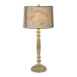 Kathy Kuo Home - Pair Carson French Country Chicken Wire Linen Shade Lamp - The Carson lamp has a nice understated wood base that is topped with a simply linen shade and then overlaid with a rustic chicken wire shade. Care should be taken with the metal shade, because it is real rust and should be wiped down before being installed over the fabric shade.  Price marked is for a pair.