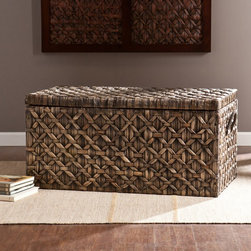Southern Enterprises - Savanah Storage Trunk - Blackwashed - HN2495-6 - Shop for Trunks and Chests (not dressers) from Hayneedle.com! With its woven blackwashed water hyacinth design and generous storage space the Savanah Storage Trunk - Blackwashed adds a subtle tropical vibe to your home. This trunk is perfect for storing spare blankets throw pillows board games and more.About SEI (Southern Enterprises Inc.)This item is manufactured by Southern Enterprises or SEI. Southern Enterprises is a wholesale furniture accessory company based in Dallas Texas. Founded in 1976 SEI offers innovative designs exceptional customer service and fast shipping from its main Dallas location. It provides quality products ranging from dinettes to home office and more. SEI is constantly evolving processes to ensure that you receive top-quality furniture with easy-to-follow instruction sheets. SEI stands behind its products and service with utmost confidence.