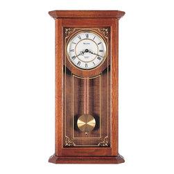 BULOVA - Bulova Cirrus Oak Wall Clock Model C3375 - This oak wall clock features: