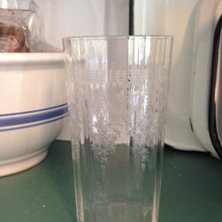 Products - Beautiful set of eight antique etched crystal glasses. Pre-war. Excellent condition.