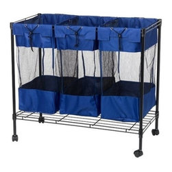 Household Essentials - Triple Utility and Sport Storage Bin, Royal Blue - Organize and give sports equipment a home with our Triple Sport Storage Bin. Use it in the garage, in the basement or outdoor play area for bats, balls, racquets or just about anything.