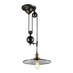 Ohr Lighting® - Ohr Lighting® Edison Vintage Barn Pendant Light Fixture, Matte Black/Antique Bra - Features