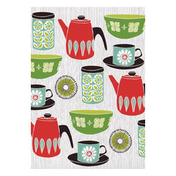 Retro Kitchen, Limited Edition, Hand Printed Work - A fantastic hand drawn retro style original screenprint, from an edition of 90 on 300mg paper. 5 color print. Print has a white border. Print size 50cm x 70cm All prints numbered signed & embossed with artists stamp.