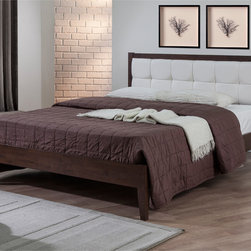 None - Vail Upholstered Queen-size Bed - The Vail bed features a sturdy rubberwood construction with a deep settler walnut brown finish. The headboard displays a lovely upholstery array in a solid grey finish.