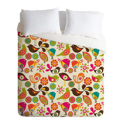 DENY Designs - Valentina Ramos Little Birds Duvet Cover - Turn your basic, boring down comforter into the super stylish focal point of your bedroom. Our Luxe Duvet is made from a heavy-weight luxurious woven polyester with a 50% cotton/50% polyester cream bottom. It also includes a hidden zipper with interior corner ties to secure your comforter. it's comfy, fade-resistant, and custom printed for each and every customer.