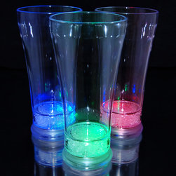 None - Light Up Pilsner Glass with Multicolor LEDs (Set of 12) - Add some pizzazz to your next get-together with these light up glasses. These pilsner glasses are made of high quality acrylic with multi-colored LED lights on the bottom. You can choose from seven different settings, from steady to a slow transition.