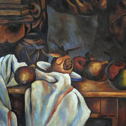 """overstockArt.com - Cezanne - Ginger Pot with Pomegranate and Pears - 20"""" X 24"""" Oil Painting On Canvas Hand painted oil reproduction of a famous Cezanne painting, Ginger Pot with Pomegranate and Pears. The original masterpiece was created in 1890-93. Today it has been carefully recreated detail by detail, color by color to near perfection. Paul Cezanne is identified today as the most dominant influence in the abstraction of modern art. Cezanne drew influence from Pissarro and Manet early in his career. As he matured, Cezanne mostly portrayed still lifes in his art and has greatly influenced Cubism, a form of painting. This work of art has the same emotions and beauty as the original. Why not grace your home with this reproduced masterpiece? It is sure to bring many admirers!"""