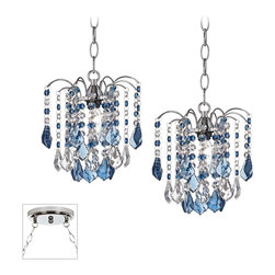 """Vienna Full Spectrum - Crystal Nicolli Blue Crystal Chrome Double Multi Light Pendant - Our multi swag chandeliers let you add designer lighting to any room. The special swag canopy installs into any ceiling junction box just like a normal ceiling light or chandelier. Install hooks in the ceiling and swag the chain to the canopy; adjust the hanging length as desired. With the hanging options you can get the exact look and light placement you need. This version features a chrome finish double swag canopy. It's paired with two designer Nicolli dazzling blue crystal chandeliers. Multi swag chandelier. With two designer Nicolli Blue crystal chandeliers. Includes chrome finish special canopy adaptor. Installs into any ceiling junction box. Includes swag hooks and mounting hardware. Each chandelier includes 10 feet chain 15 feet cord. Takes two 40 watt bulbs (not included). Canopy is 7"""" wide. Each chandelier is 8"""" wide 9"""" high. Some assembly required; instructions included.  Multi swag chandelier.  With two designer  Nicolli Blue crystal chandeliers.  Includes chrome finish special canopy adaptor.  Installs into any ceiling junction box.  Includes swag hooks and mounting hardware.  Each chandelier includes 10 feet chain 15 feet cord.  Create drama with this large chandelier.  Takes two 40 watt bulbs (not included).  Canopy is 7"""" wide.  Each chandelier is 8"""" wide 9"""" high.  Some assembly required; instructions included."""