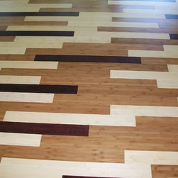 Holistic Retreat, Cincinnati - This floor mixes natural, carbonized and stained bamboo planks for a unique pattern