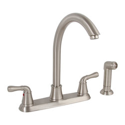 Premier Faucet - Premier Sanibel Two Handle Kitchen Faucet in Brushed Nickel - This is a brand new faucet from Premier (model # 120047LF). Premier's two-handle kitchen faucet includes a 12-Inch high-arc spout to add sleek, symmetrical style to your kitchen. Premier's ceramic disc cartridges prevent hard water buildup and offer consistent, leak-free performance. This Sanibel kitchen faucet features two metal lever handles, lead-free brass construction, a flow rate of 2.2 gallons per minute, a brushed nickel finish, and a color matched sprayer with a 48-Inch reinforced hose. It complies with the requirements of the Uniform Plumbing Code and the Americans with Disabilities Act. It is covered by Premier's industry-leading Limited Lifetime Warranty. This faucet has been certified to meet the strict lead-free standards of California and Vermont.