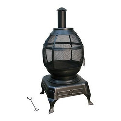 Kay Home Products - Potbelly Outdoor Fireplace - With its unique potbelly stove design, this outdoor fireplace provides a cozy centrepiece for backyard gatherings of all kinds. When the weather turns chilly, relax and give in to the nostalgia, remembering the old days with friends and family. The fireplace is made from sturdy steel mesh with a high-temperature matte black finish to give you a full 360-degree view of the fire. The mesh design, along with the large log grate inside, helps to aerate the fire. The slide-open door makes it easy to add fuel, so throw on another log and start making some new memories.Features: