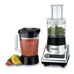 Cuisinart - Cuisinart BFP-10CH PowerBlend Duet Blender/Food Processor - BFP-10CH - Shop for Blenders from Hayneedle.com! The Cuisinart BFP-10CH PowerBlend Duet Blender/Food Processor is a powerfully innovative solution to two kitchen problems as it combines a heavy-duty blender and a food processor into one easy-to-use unit. With 500 watts of blending power and a big 56-ounce heavy-duty glass blending jar it's a great all-purpose blender. And with a three-cup food processor bowl attachment and reversible shredding-disc attachment it's a great way to prepare ingredients as well. Its seven blending modes include dedicated buttons for both ice crushing and food processing meaning that it can cover any possible situation.Additional information:Sophisticated chrome and black exterior with break-resistant technologyIncludes a reversible shredding-disc attachment for efficiencyComplete with recipe book to help new usersComplete with a 3-year limited manufacturer's warrantyAbout CuisinartOne of the most recognized names in cookware and kitchen products Cuisinart first became popular when introduced to the public by culinary experts Julia Child and James Beard. In 1973 the Cuisinart food processor revolutionized the way we create fine food and healthy dishes and since that time Cuisinart has continued its path of innovation. Under management by the Conair Corporation since 1989 Cuisinart is a universally celebrated name in kitchens across the globe. With a full-service product line including bakeware blenders coffeemakers cookware countertop appliances kitchen tools and much much more Cuisinart products are preferred by chefs and loved by consumers for durability ease of use superior quality and style.