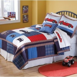 Pem America Cars Quilt Set - Your little adventurer will be ready to hit the road with the Pem America Cars Quilt Set. Featuring plenty of cars and gauges in blue and red this durable quilt set is made from 100% cotton with 100% cotton fill. Each piece is pre-washed for maximum softness and machine washable for easy care.Quilt Set Components:Twin: Quilt 1 pillow shamFull/Queen:Quilt 2 pillow shamsDimensions:Twin Quilt: 86L x 68W inchesFull/Queen Quilt: 86L x 86W inchesPillow Shams: 26L x 20W inchesAbout Pem AmericaMakers of high quality handcrafted textiles Pem America Outlet specializes in bedding that enhances your comfort and emphasizes the importance of a good night's rest. Quilts comforters pillows and other items for the bedroom are made with care and craftsmanship by Pem America. Their products cover a wide range of materials styles colors and designs all made with long-lasting quality construction and soft long-wearing materials. Details like fine stitching embroidery and crochet decorations and reinforced seaming make Pem America bedding comfortable and just right for you and your family.