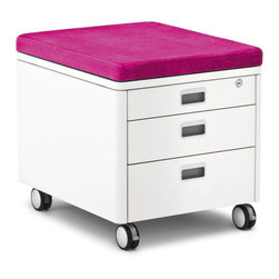 Moll - Champion Kids Pad for Rolling Cube, Magenta - Top the Champion Kids Three Drawer Rolling Cube Container with this cushiony pad and turn the storage unit into a chair.
