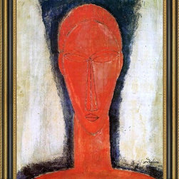"""Art MegaMart - Amedeo Modigliani Study of a Head - 16"""" x 20"""" Framed Premium Canvas Print - 16"""" x 20"""" Amedeo Modigliani Study of a Head framed premium canvas print reproduced to meet museum quality standards. Our Museum quality canvas prints are produced using high-precision print technology for a more accurate reproduction printed on high quality canvas with fade-resistant, archival inks. Our progressive business model allows us to offer works of art to you at the best wholesale pricing, significantly less than art gallery prices, affordable to all. This artwork is hand stretched onto wooden stretcher bars, then mounted into our 3 3/4"""" wide gold finish frame with black panel by one of our expert framers. Our framed canvas print comes with hardware, ready to hang on your wall.  We present a comprehensive collection of exceptional canvas art reproductions by Amedeo Modigliani."""