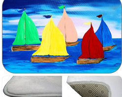 Sailing Plush Bth Mat, 30X20 - Bath mats from my original art and designs. Super soft plush fabric with a non skid backing. Eco friendly water base dyes that will not fade or alter the texture of the fabric. Washable 100 % polyester and mold resistant. Great for the bath room or anywhere in the home. At 1/2 inch thick our mats are softer and more plush than the typical comfort mats.Your toes will love you.