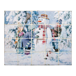 "Tile Art Gallery - Splash Decor Tile Mural - Doug Laird - Snowman - Splash Decor allows you to interchange mural scenes with just a pull and lift motion. Now you can change scenes for holidays, seasons, or just whenever you feel like redecorating. This tumbled marble stone tile mural titled ""Snowman"" is depicted by artist Doug Laird and is a beautiful compliment to any kitchen or bar tiled backsplash."