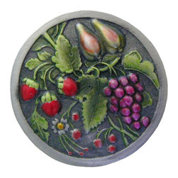 "Inviting Home - Tuscan Bounty (hand-tinted antique pewter) - Hand-cast Tuscan Bounty Knob in hand-tinted antique pewter finish; 1-9/16"" diameter; Product Specification: Made in the USA. Fine-art foundry hand-pours and hand finished hardware knobs and pulls using Old World methods. Lifetime guaranteed against flaws in craftsmanship. Exceptional clarity of details and depth of relief. All knobs and pulls are hand cast from solid fine pewter or solid bronze. The term antique refers to special methods of treating metal so there is contrast between relief and recessed areas. Knobs and Pulls are lacquered to protect the finish. Alternate finishes are available."