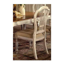 Hillsdale Furniture - Wilshire Antique White Dining Chairs - Set of - If you are looking for a country chic look in your kitchen or dining room, then you need this set of chairs! These two chairs are finished with an antique white finish that gives the appearance of age. The seat is upholstered with a diamond patterned fabric, and are generously padded for your comfort. Good dining room furniture isn't that hard to come by. They are great dining room furniture. * For residential use. If you are looking for a country chic look in your kitchen or dining room, then you need this set of chairs.. These two chairs are finished with an antique white finish that gives the appearance of age.. The seat is upholstered with a diamond patterned fabric, and are generously padded for your comfort.. Set of 2 chairs. Antique white finish. 43.07H x 22.2W x 23.46D