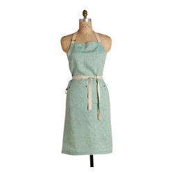Birdkage - Classic Linen Bib Apron, Mint - Cooking has never felt so fresh! This apron is roomy enough for a man-sized chef, and with rugged blue jean rivets and strong cotton ties, it can take anything you dish out.