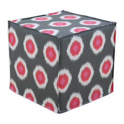 """Chooty - Chooty Ikat Domino Flamingo Collection 17"""" Square Seamed Foam Ottoman - Insert 100 High Density Foam, Fabric Content 100 Cotton, Color Grey, White, Pink, Hassock 1"""