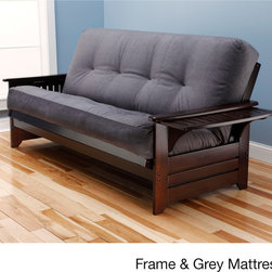 None - Ali Phonics Multi-Flex Espresso Wood Futon Frame with Innerspring Mattress - Sit, lounge or sleep on the multi-functional Ali Phonics Multi-Flex Futon Set. This unique and versatile full-size futon sofa features a plush upholstery and an espresso finish wood frame that fits easily in most rooms.