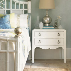 Lexington Home Brands - Tommy Bahama by Lexington Home Brands Ivory Key Martello 2 Drawer Nightstand - W - Shop for Nightstands from Hayneedle.com! Classic curves and plenty of storage make the Ivory Key Martello 2 Drawer Nightstand - White just right for your space. This nightstand offers ample storage inside its two drawers and display space that makes it ideal for your bedside. It's made of wood with tapered legs curved accents and is finished on all four sides in bright white. The custom ring pull hardware has an aged silver patina.About Tommy BahamaTommy Bahama brings extraordinary craftsmanship and design sophistication to contemporary outdoor living. Painstakingly handcrafted globally inspired their themed patio furniture collections feature the finest materials performance fabrics and artisan finishes transforming outdoor spaces into natural extensions of indoor rooms. Tommy Bahama is part of the family of Lexington Home Brands which is headquartered in High Point North Carolina. Founded in 1903 Lexington is respected throughout the industry for its innovative award-winning designs and commitment to exceptional quality. With Tommy Bahama that means details such as hand-woven all-weather wicker and precision-welded aluminum frames creating a luxurious patio paradise of casual elegance and uncompromising quality.