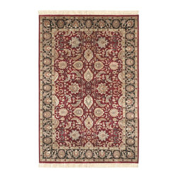 """Surya - Traditional Taj Mahal Sample 1'6""""x1'6"""" Sample Burgundy-Black  Area Rug - The Taj Mahal area rug Collection offers an affordable assortment of Traditional stylings. Taj Mahal features a blend of natural Burgundy-Black  color. Hand Knotted of 100% Semi-Worsted New Zealand Wool the Taj Mahal Collection is an intriguing compliment to any decor."""