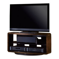 BDI - BDI Valera Double Wide 3 Shelf Swivel TV Stand in Chocolate Walnut - BDI - TV Stands - 9724 CWL - The Valera collection of open TV stands beautifully frames a home theater system and provides a semi-enclosed appearance. The center tempered grey tinted glass shelf(s) is adjustable and the back panel features integrated wire management to keep cables under control. This stand is a three-shelf TV stand with space for two columns of home theater components. The integrated swivel base has three adjustable settings - rotating 360 degree, swiveling 30 degree for corners or secured in place.