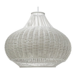Kouboo - Wicker Pear-Shaped Pendant Lamp, White - Total height with power cord 53 inches. Height can be reduced by shortening cord