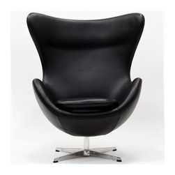 East End Imports - Arne Jacobsen Style Glove Chair in Aniline Leather Black - Delight in perfect symmetry with the harmonious Arne Jacobsen style Glove Chair. Designed with sprawling wing tips and amorphous form, the Glove Chair is a study of opposites built from the most exacting design specifications. Layered in fine aniline leather over a cozy foam frame, adorn yourself with precision as you embark on a more sophisticated state.