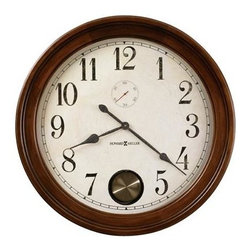 """HOWARD MILLER - Howard Miller Auburn 32"""" Gallery Clock - This large wall clock features an aged dial with black Arabic numerals, and features an antique pendulum visible through peep hole. Aged black minute and hour hands with red second hand complete the look."""