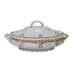 Lavish Shoestring - Consigned Large Serving Bowl & Lid with Pink Garl&s, Possibly Limoges, French, - This is a vintage one-of-a-kind item.