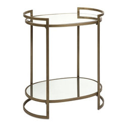 iMax - Ancona Mirror Accent Table - Art Deco influence is evident is the gold frame and style of this two tiered accent table. Whether your decor boasts modern femininity or Greek inspired masculine decor, this is the perfect mirror top table for any room.
