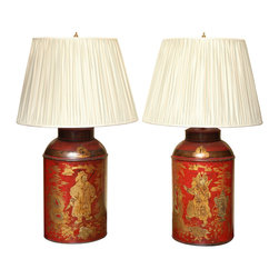 Antique Pair Regency Chinoiserie Tea Canisters - This pair would look grandiose in an entrance hallway.