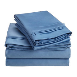 1500 Thread Count Egyptian Cotton King Medium Blue Solid Sheet Set - 1500 Thread Count oversized King Medium Blue Solid Sheet Set 100% Egyptian Cotton