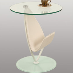 Chintaly Imports - Modern Round Glass Lamp Table - Modern Round Glass Lamp Table
